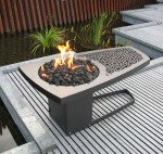 "Eeva fire table: steel with temperature resistant coating. 25""w x 47""l x 21""h. Propane fueled"