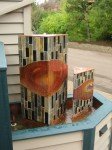 Stone, copper, and kiln fused art glass