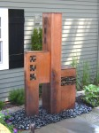 """Tricubic"" Copper with stone & glass tiles. 66"" tall"
